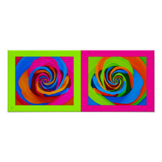 Pair of PopArt Roses with Green and Pink Framing Poster