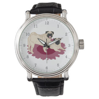 Pair of Pugs Flower Watches