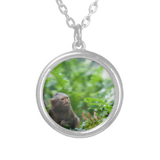 Pair of pygmy monkeys silver plated necklace