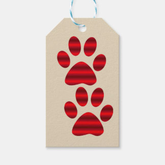 Pair of Red Gradient Paw Prints Gift Tags