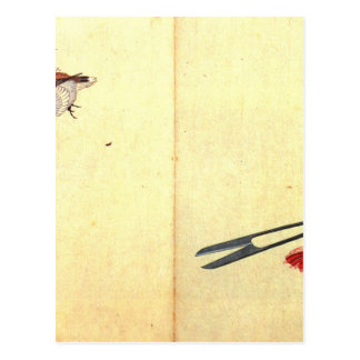 Pair of sissors and sparrow by Katsushika Hokusai Postcard