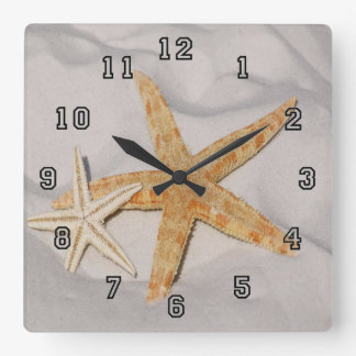 Pair Of Starfish Square Wall Clock