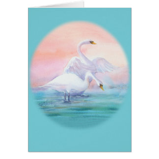 PAIR of SWAN with WINGS by SHARON SHARPE Card