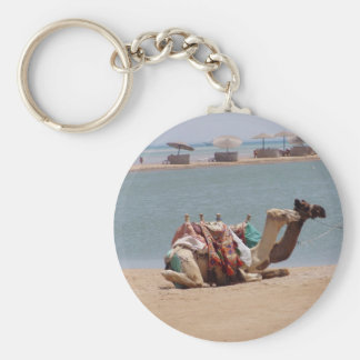 Pair Of Traditional Camels Sitting At The Beach. Keychain