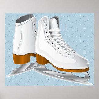 pair of white ice skates art poster