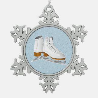 pair of white ice skates pewter snowflake ornament