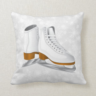 pair of white ice skates throw pillow