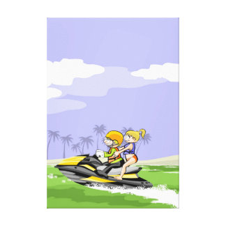 Pair taking a walk by the coast in its jet ski canvas print