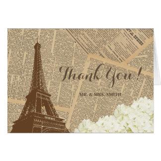 Pairs Eiffel Tower Vintage Wedding Thank You Card