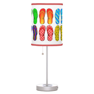 Pairs of Colorful Beach Flip Flops #2 in White Table Lamp