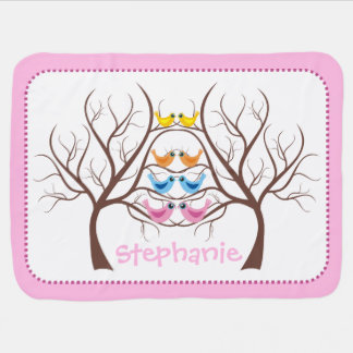 Pairs of cute twin birds in tree pink swaddle blankets