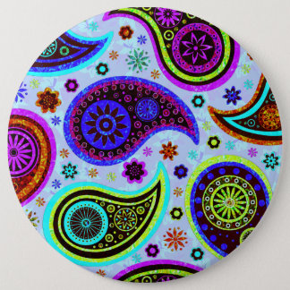 Paisley 2.0-Light Background 6 Inch Round Button