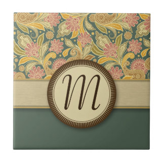 Paisley and Fan Flowers with Monogram Tile