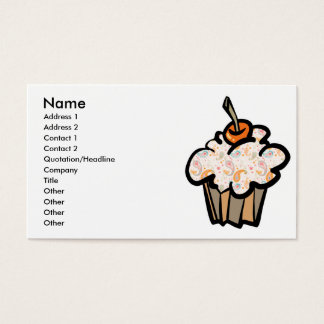 paisley and hearts cupcake, Name, Address 1, Ad... Business Card