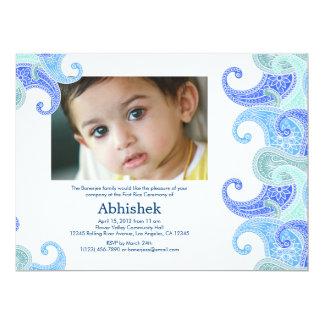 "Paisley Annaprashan (First Rice) Invitation 6.5"" X 8.75"" Invitation Card"