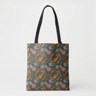 Paisley Autumn Leaves Intricate Orange Blue Print Tote Bag