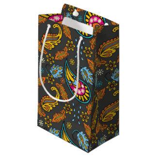 Paisley Autumn Leaves Turquoise Orange Pattern Small Gift Bag