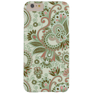 Paisley Background, Swirls - Green Pink Barely There iPhone 6 Plus Case