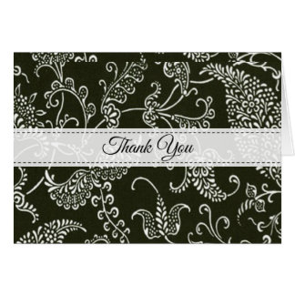 Paisley Black and White Monogram Initial Thank You Card