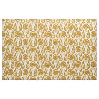 paisley block gold ivory fabric