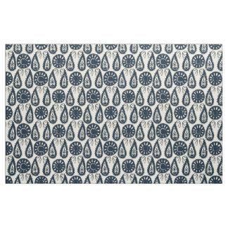 paisley block indigo ivory fabric