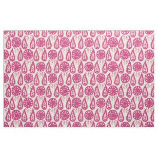 paisley block pink ivory fabric