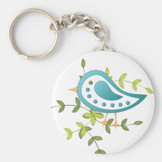 Paisley Blue Bird of Happiness Keychain
