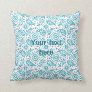Paisley blue seamless pattern throw pillow