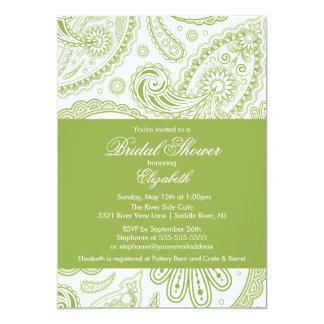 Paisley Bridal Shower Invitation Chartreuse Green
