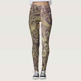 Paisley Brocade Leggings in gold and brown