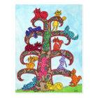 Paisley Cat Tree of Life Postcard