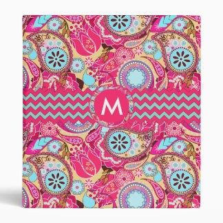 Paisley Chevron Monogram Pink PCMX 3 Ring Binder