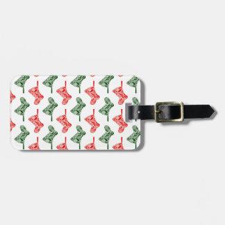 Paisley Christmas Stockings Luggage Tag