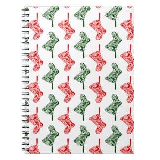 Paisley Christmas Stockings Spiral Notebook