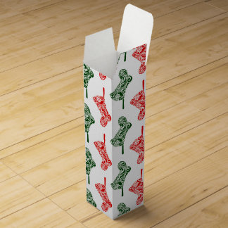 Paisley Christmas Stockings Wine Box