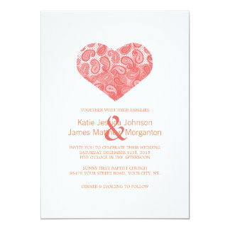 Paisley Coral Pink Heart Wedding Invitation