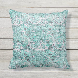 Paisley distressed Outdoor Pillow