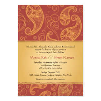 Paisley Dreams Gold Orange Wedding Card