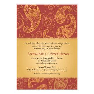 Paisley Dreams Gold Orange Wedding Personalized Invite