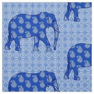 Paisley elephant - cobalt blue and white fabric