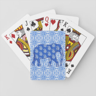 Paisley elephant - cobalt blue and white poker deck
