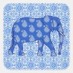 Paisley elephant - cobalt blue and white square sticker