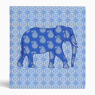 Paisley elephant - cobalt blue and white vinyl binders