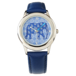 Paisley elephant - cobalt blue and white wrist watch