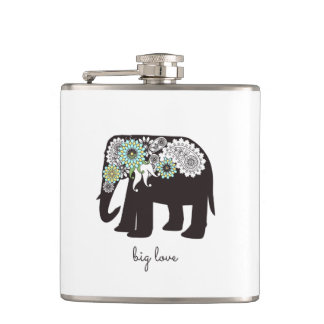 Paisley Elephant Elegant Cute Animal Love Custom Hip Flask
