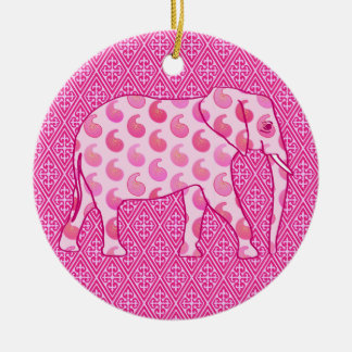 Paisley elephant - ice pink and fuchsia ceramic ornament