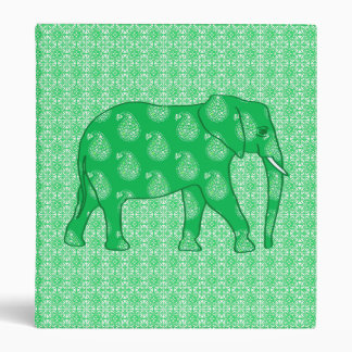 Paisley elephant - jade green and white vinyl binder