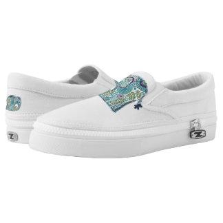 Paisley Elephant Print Zip Shoes