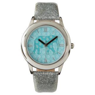Paisley elephant - turquoise and aqua wristwatches