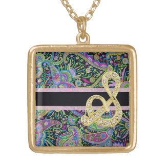 Paisley Fantasy Monogram Gold Plated Necklace